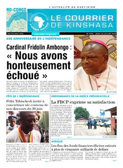 Les Dépêches de Brazzaville : Édition le courrier de kinshasa du 02 juillet 2020