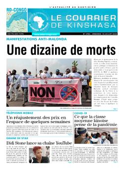 Les Dépêches de Brazzaville : Édition le courrier de kinshasa du 10 juillet 2020