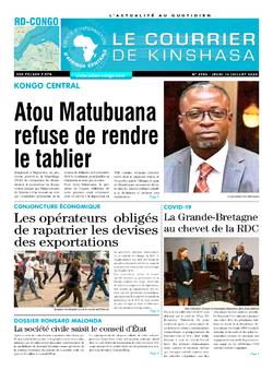 Les Dépêches de Brazzaville : Édition le courrier de kinshasa du 16 juillet 2020