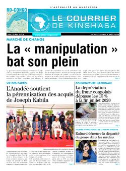 Les Dépêches de Brazzaville : Édition le courrier de kinshasa du 03 août 2020