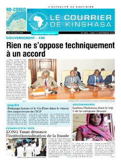 Les Dépêches de Brazzaville : Édition le courrier de kinshasa du 14 septembre 2020
