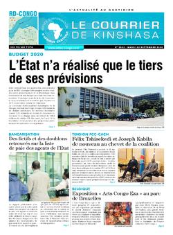 Les Dépêches de Brazzaville : Édition le courrier de kinshasa du 22 septembre 2020