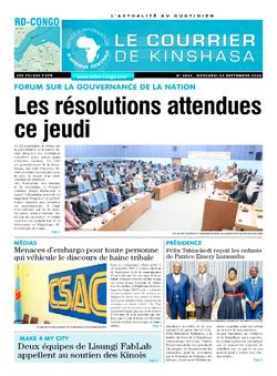Les Dépêches de Brazzaville : Édition le courrier de kinshasa du 23 septembre 2020