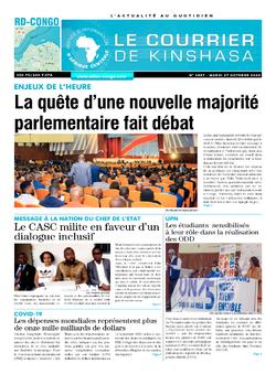 Les Dépêches de Brazzaville : Édition le courrier de kinshasa du 27 octobre 2020