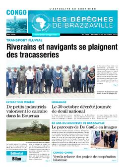 Les Dépêches de Brazzaville : Édition brazzaville du 30 octobre 2020