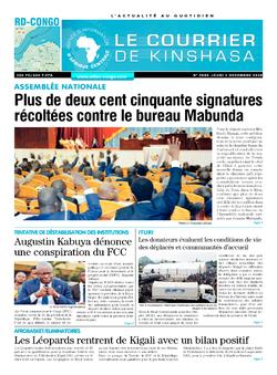 Les Dépêches de Brazzaville : Édition le courrier de kinshasa du 03 décembre 2020