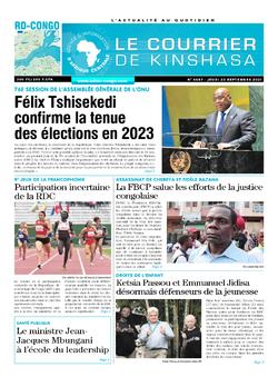 Les Dépêches de Brazzaville : Édition le courrier de kinshasa du 23 septembre 2021