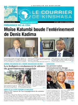 Les Dépêches de Brazzaville : Édition le courrier de kinshasa du 21 octobre 2021