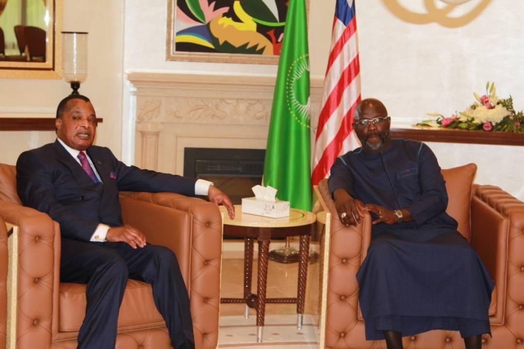 Georges Weah à Brazzaville pour une visite de travail — Coopération Congo-Liberia