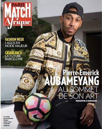 m dia pierre emerick aubameyang la une du premier paris match afrique adiac. Black Bedroom Furniture Sets. Home Design Ideas